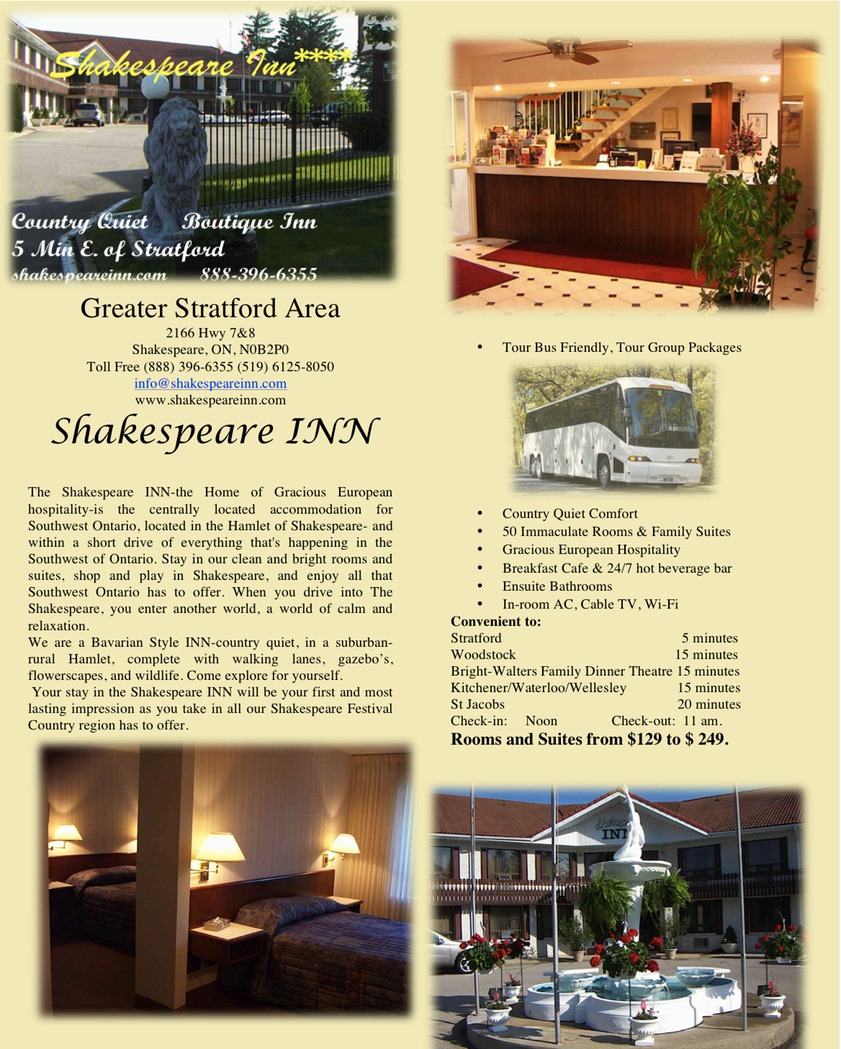 Shakespeare Inn Flyer